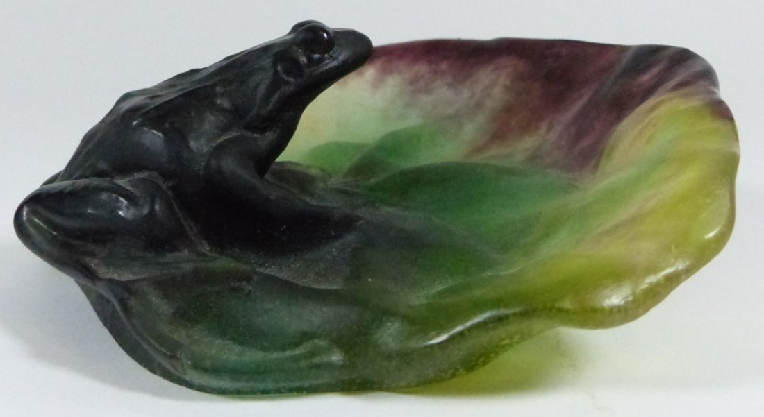 DAUM PATE-DE-VERRE ART GLASS FROG DISH w BOX - 5