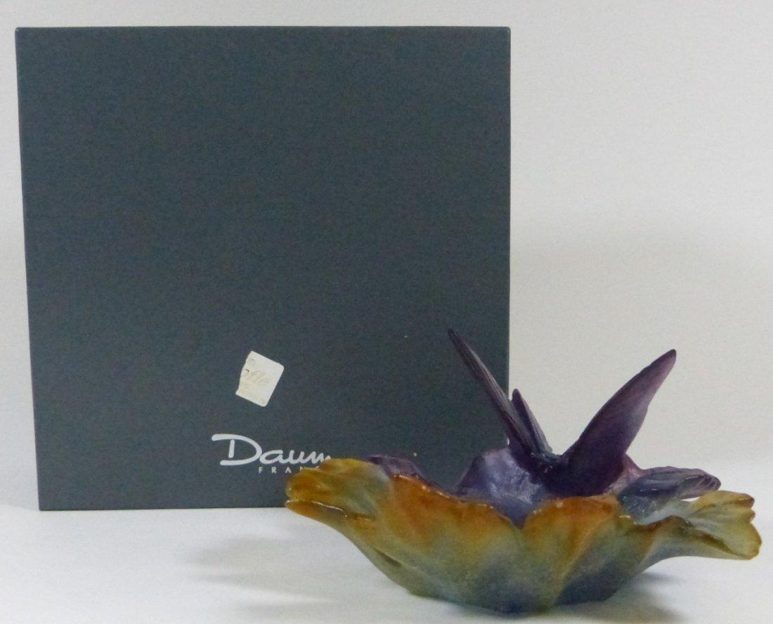 DAUM PATE-DE-VERRE ART GLASS BUTTERFLY DISH w BOX