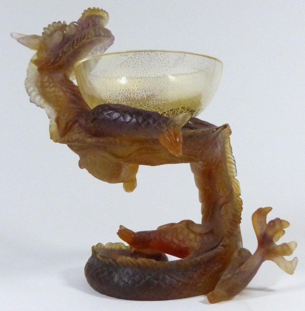 DAUM PATE-DE-VERRE ART GLASS DRAGON w BOX - 4