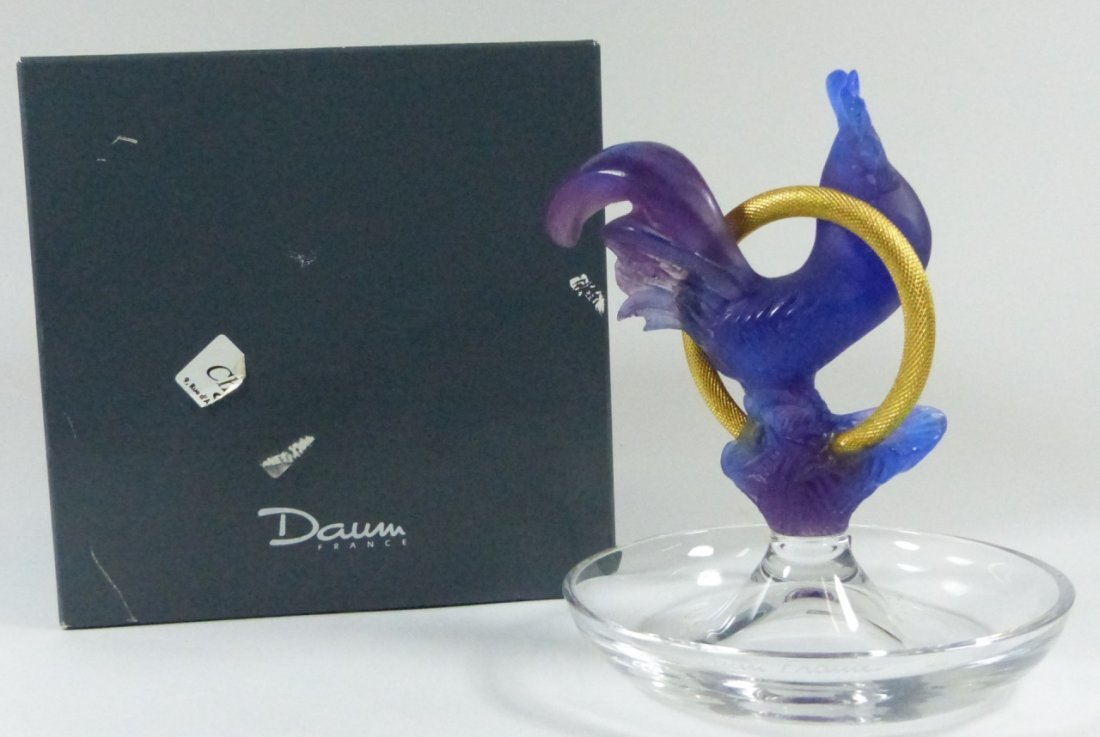 DAUM FRANCE PATE-DE-VERRE ART GLASS RING DISH
