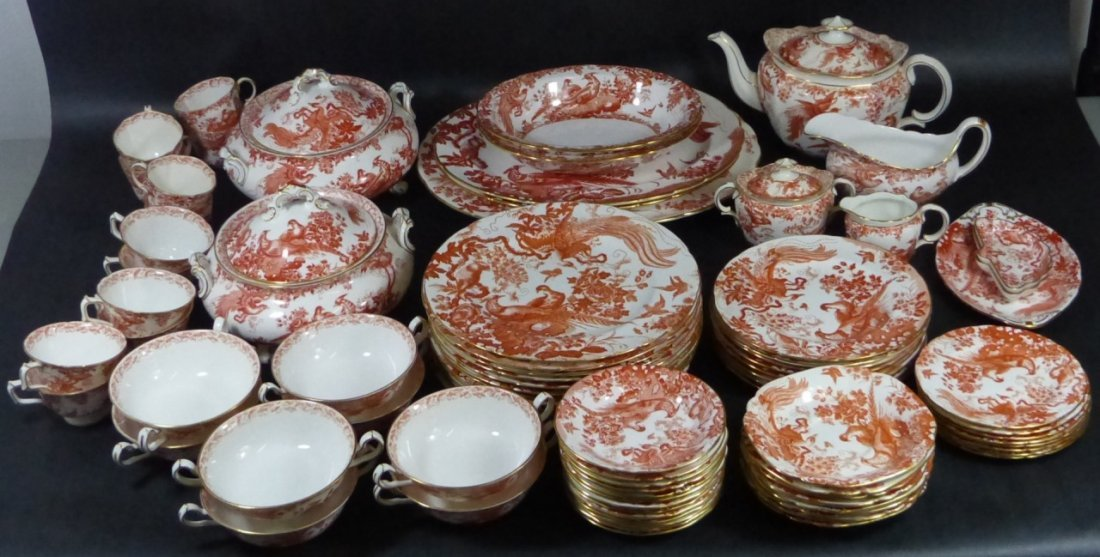 """75pc ROYAL CROWN DERBY """"RED AVES"""" BONE CHINA"""