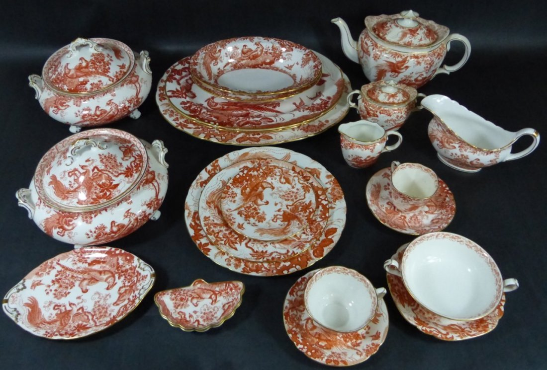 """75pc ROYAL CROWN DERBY """"RED AVES"""" BONE CHINA - 2"""