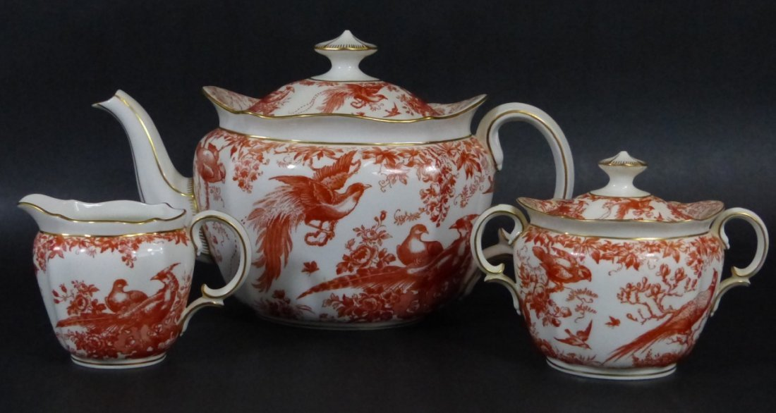 """75pc ROYAL CROWN DERBY """"RED AVES"""" BONE CHINA - 4"""