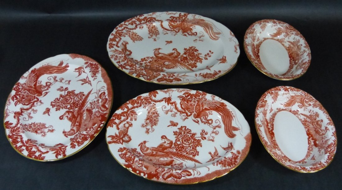"""75pc ROYAL CROWN DERBY """"RED AVES"""" BONE CHINA - 5"""