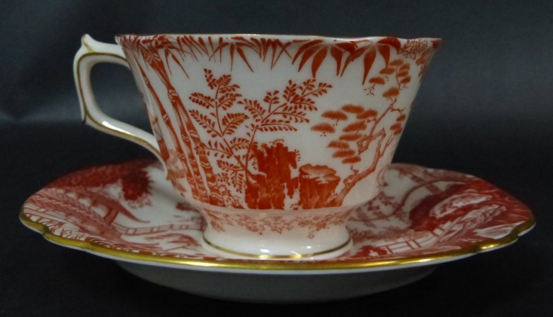 "20pc ROYAL CROWN DERBY ENGLISH ""RED MIKADO"" CHINA - 2"