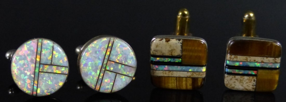 TWO PAIRS STERLING SILVER INLAID CUFF LINKS