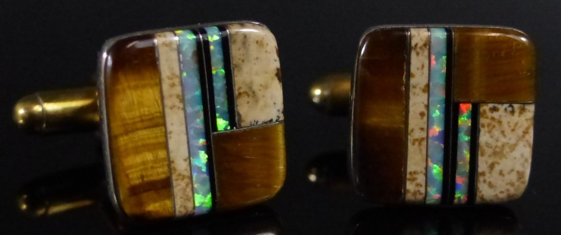 TWO PAIRS STERLING SILVER INLAID CUFF LINKS - 4
