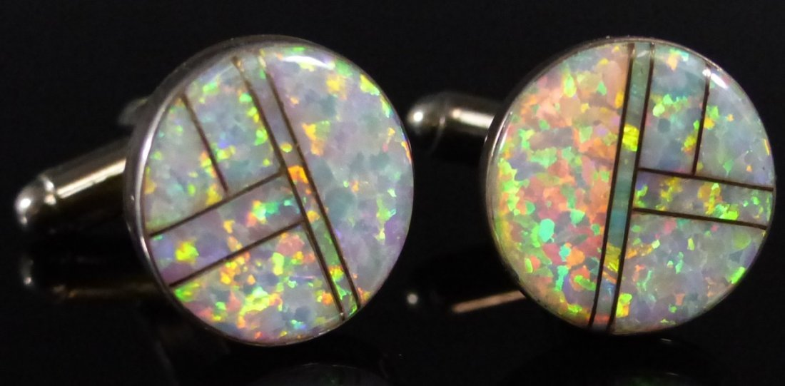 TWO PAIRS STERLING SILVER INLAID CUFF LINKS - 5