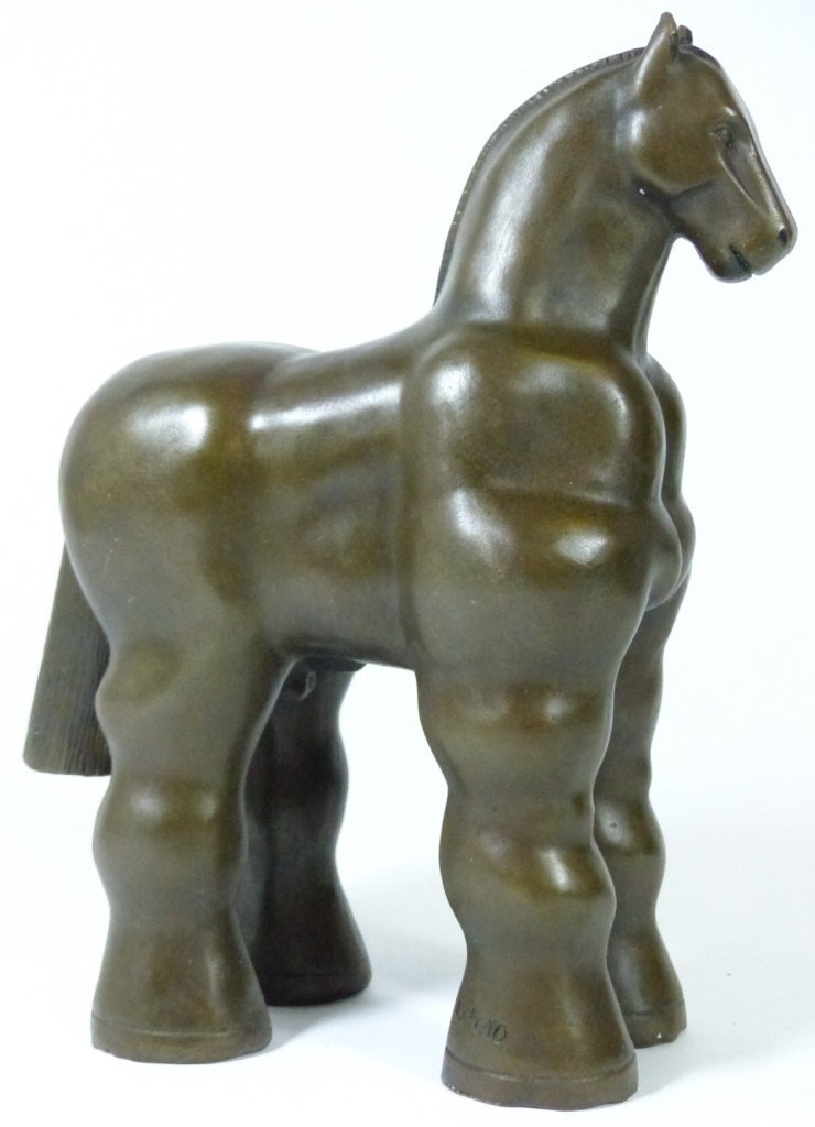 FERNANDO BOTERO BRONZE SCULPTURE OF TROJAN HORSE