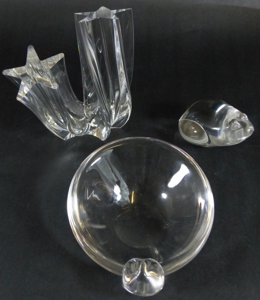 3 pc STEUBEN CLEAR CRYSTAL MISC LOT