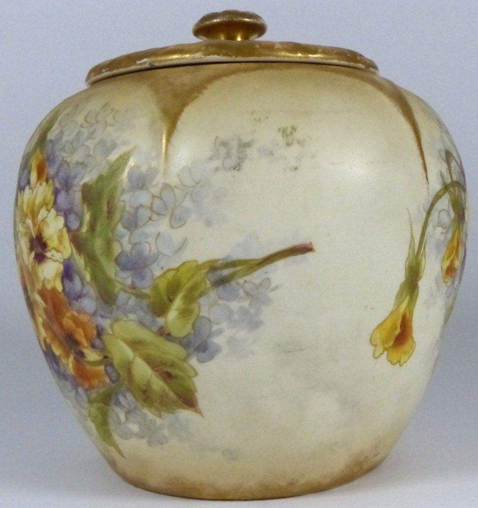ROYAL BONN ANTIQUE PORCELAIN LIDDED JAR - 2