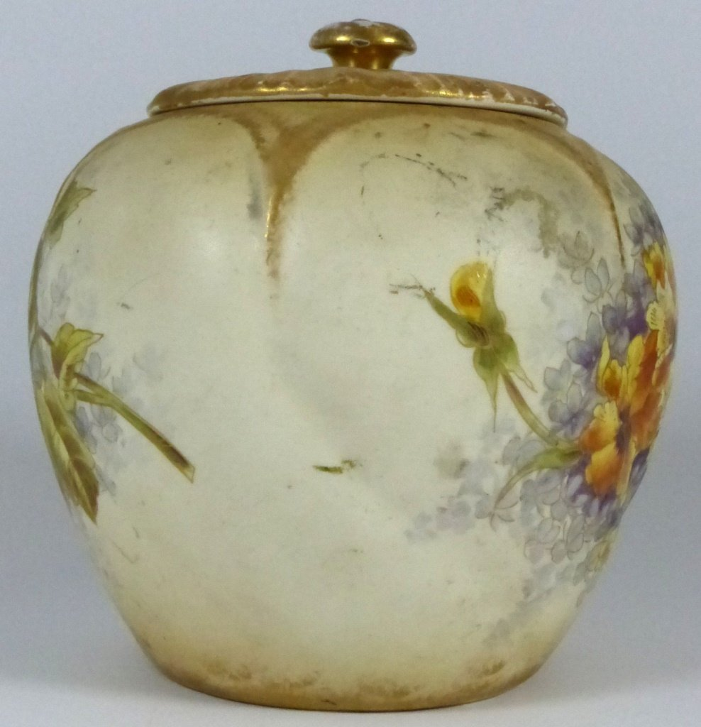 ROYAL BONN ANTIQUE PORCELAIN LIDDED JAR - 5