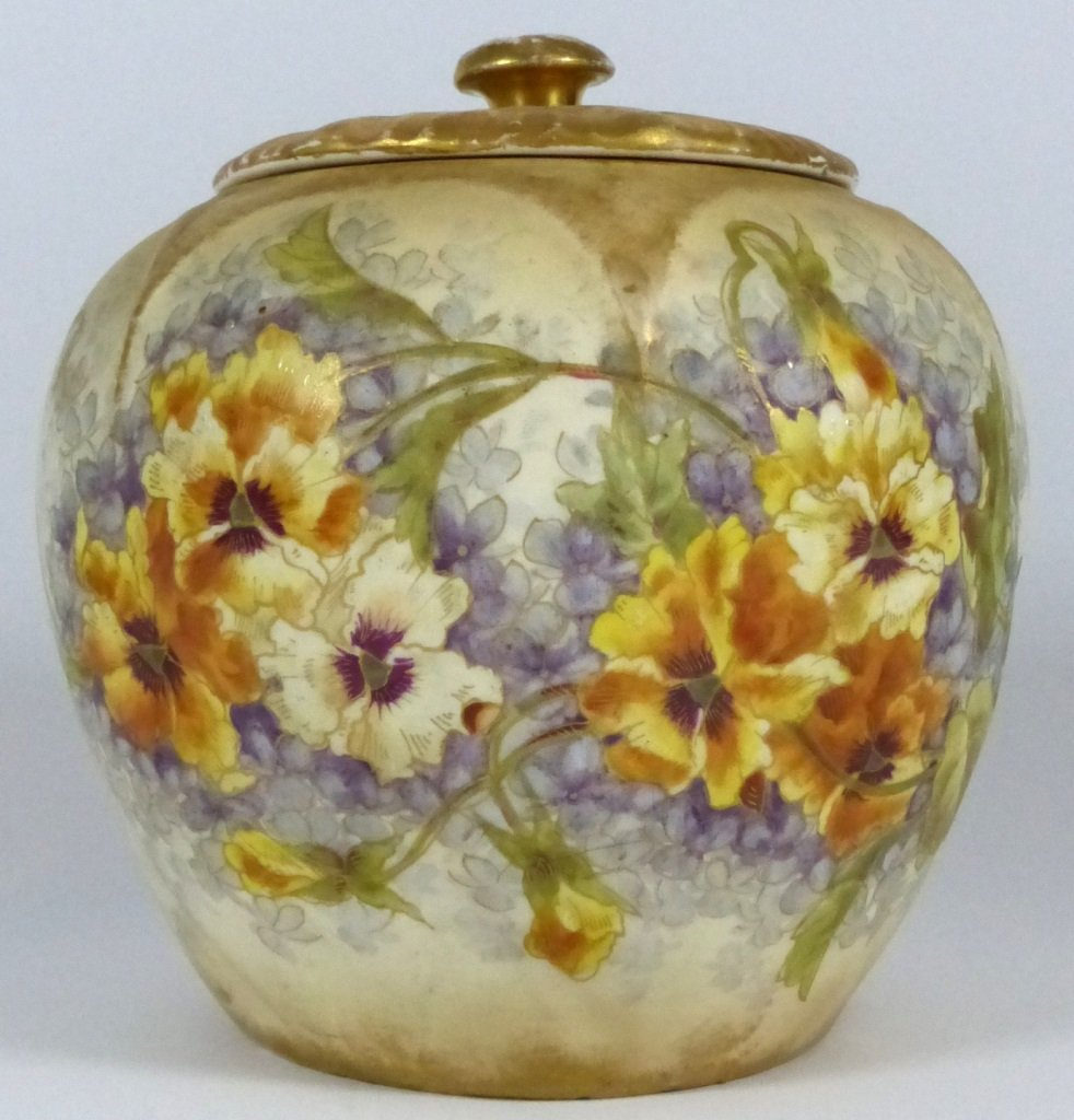 ROYAL BONN ANTIQUE PORCELAIN LIDDED JAR - 6