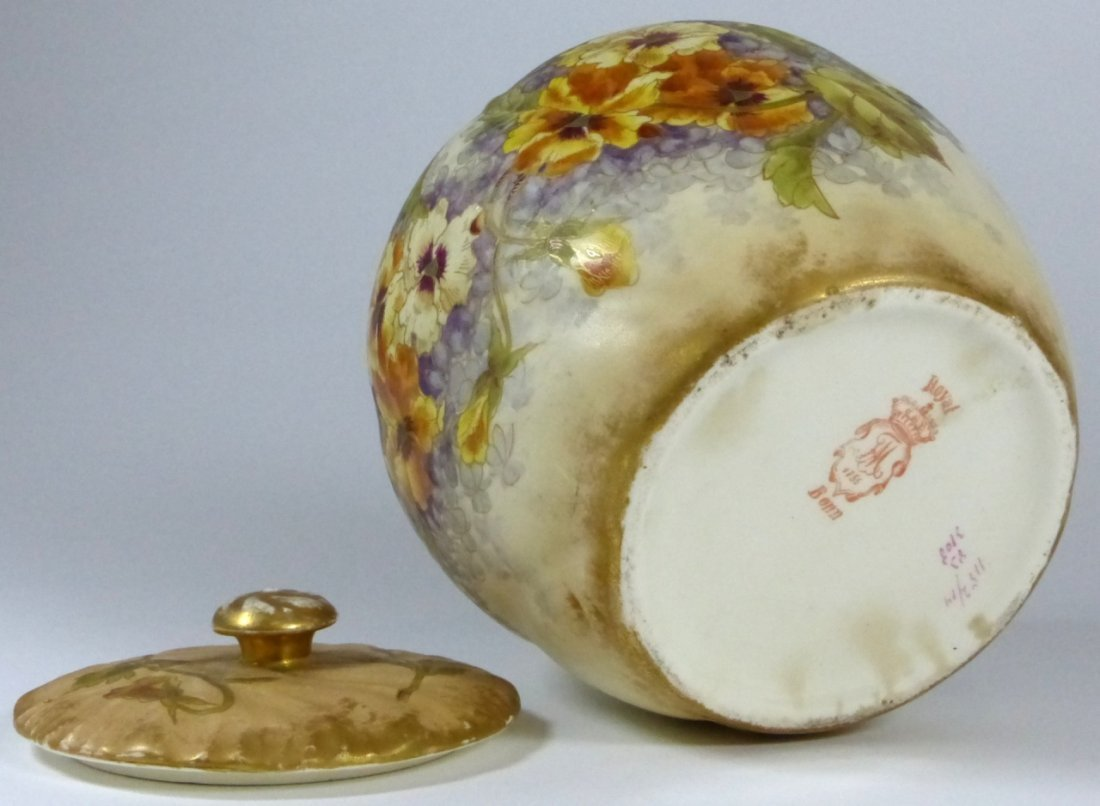 ROYAL BONN ANTIQUE PORCELAIN LIDDED JAR - 8