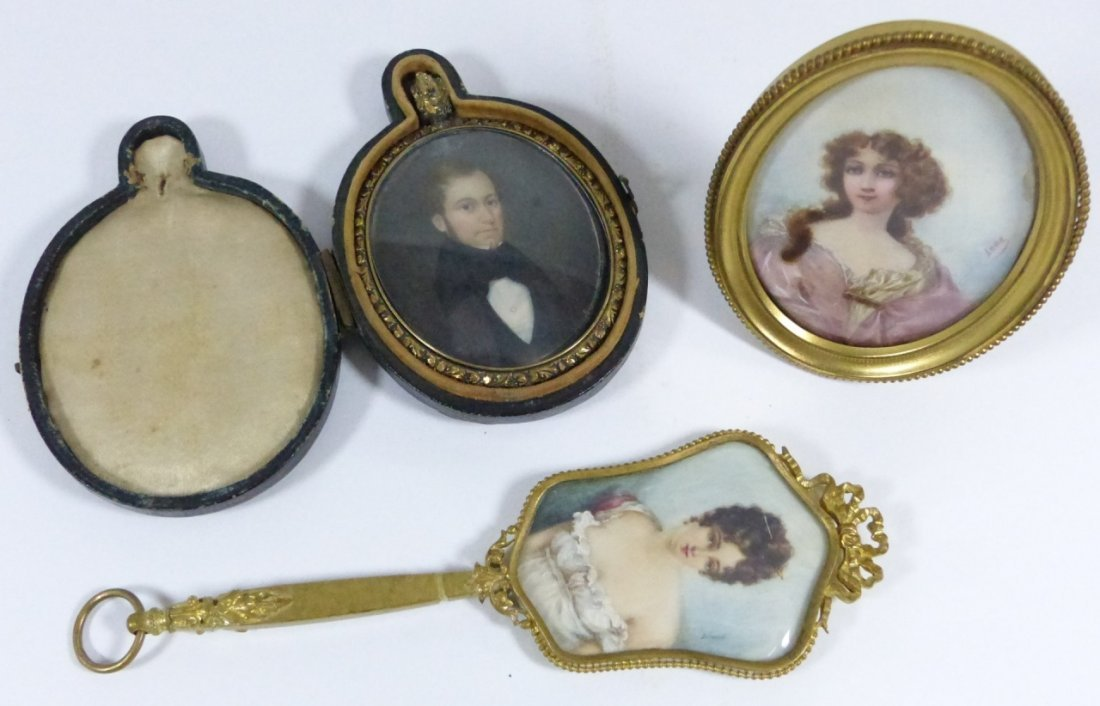 THREE HAND PAINTED MINIATURES ON CELLULOID