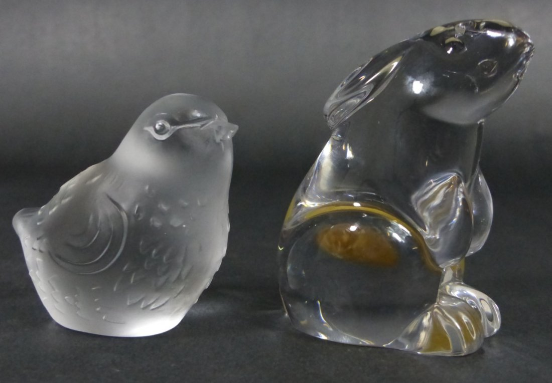 2pc BACCARAT CRYSTAL FIGURAL ANIMAL PAPERWEIGHTS