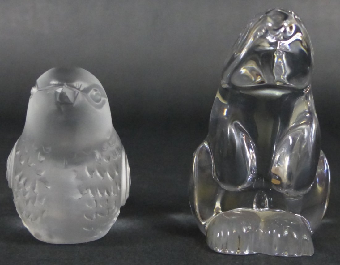 2pc BACCARAT CRYSTAL FIGURAL ANIMAL PAPERWEIGHTS - 2