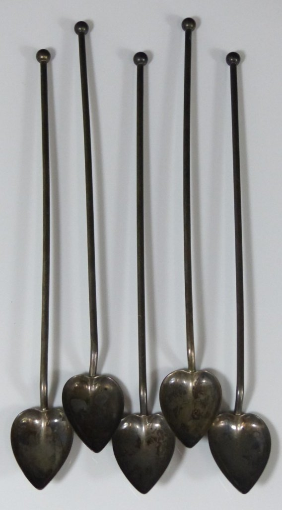 5pc ANTIQUE STERLING SILVER ICED TEA STRAWS