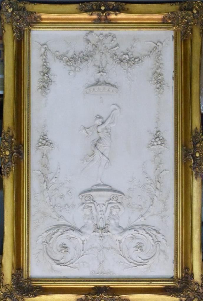 CONTINENTAL MARBLE RELIEF PLAQUE w ROMAN SCENE