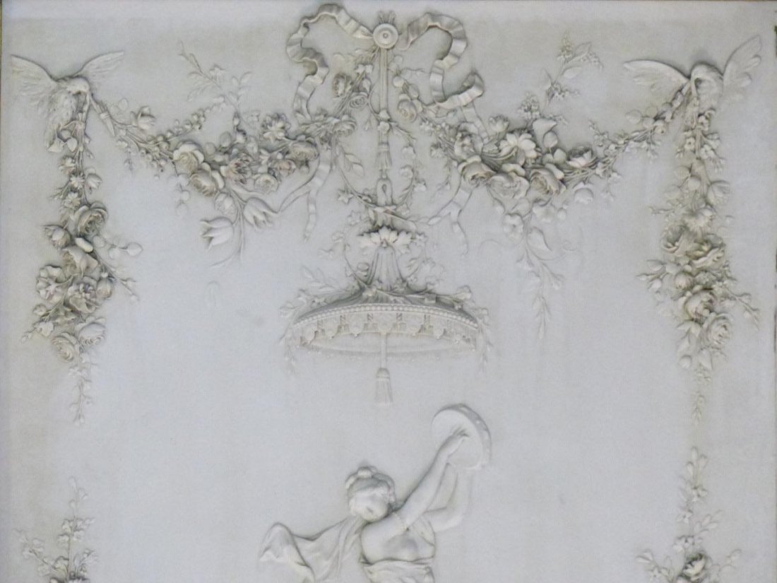 CONTINENTAL MARBLE RELIEF PLAQUE w ROMAN SCENE - 6