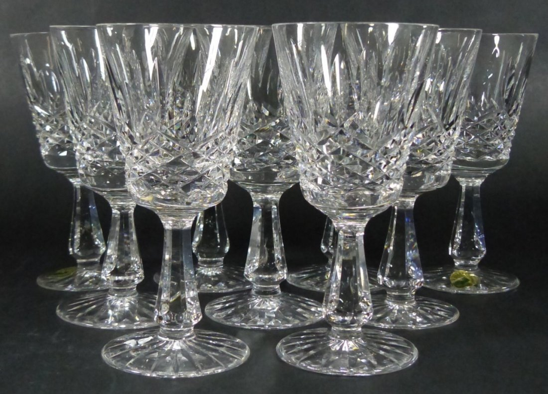 9pc WATERFORD KENMARE CUT CRYSTAL WINE CLARETS