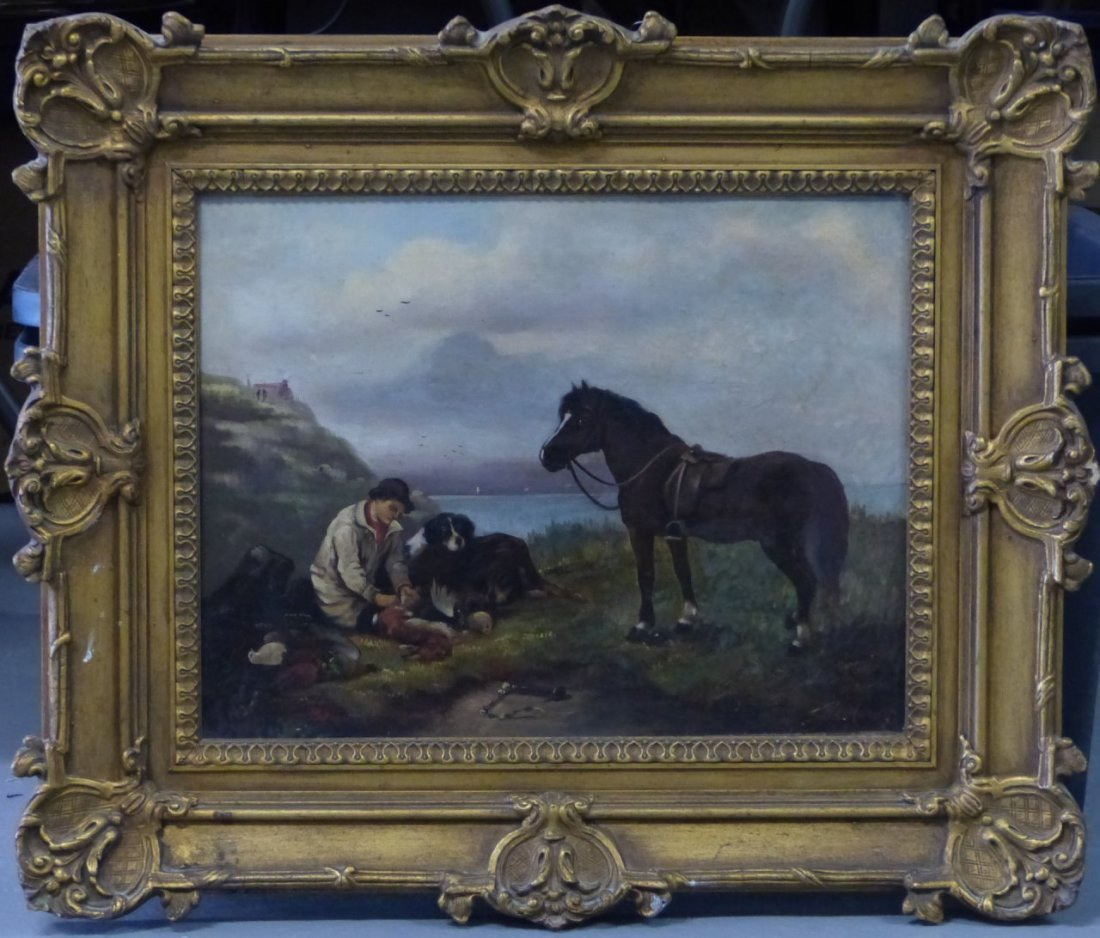 J HARDY OIL PAINTING ON CANVAS SMALL GAME HUNTER