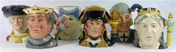 6pc ROYAL DOULTON PORCELAIN TOBY CHARACTER MUGS