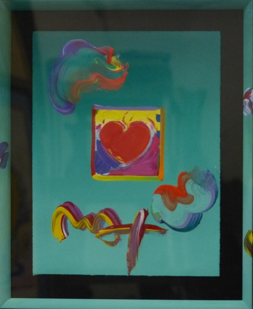 PETER MAX ACRYLIC MIXED MEDIA HEART ON PAPER