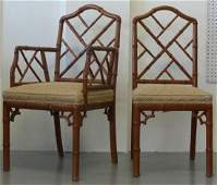 6pc SET OF CARVED FAUX BAMBOO DINING CHAIRS