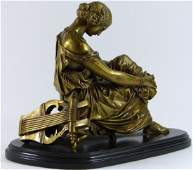 JEAN JACQUES PRADIER BRONZE OF SEATED WOMAN