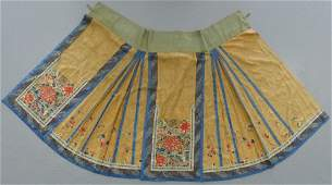 FINE CHINESE LADY'S EMBROIDERED SILK FLORAL SKIRT
