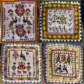 4pc BEADED INDIAN TRIBAL PANELS