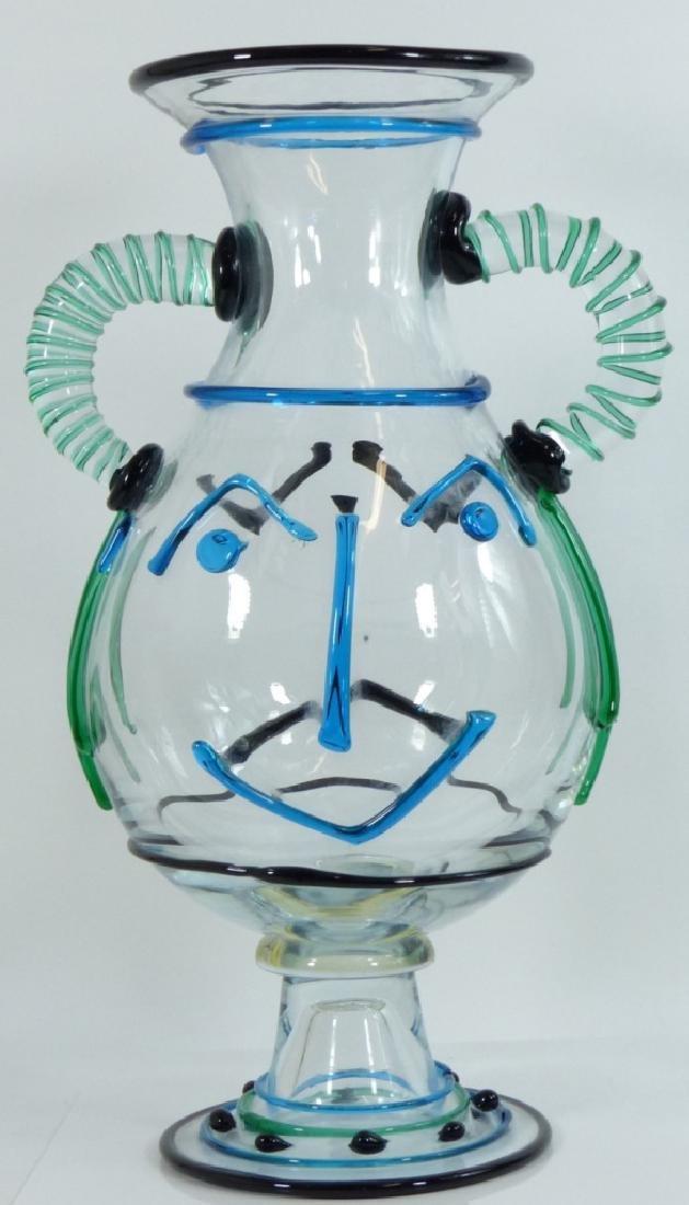 """RENATO ANATRA MURANO ART GLASS FACE VASE 19"""""""