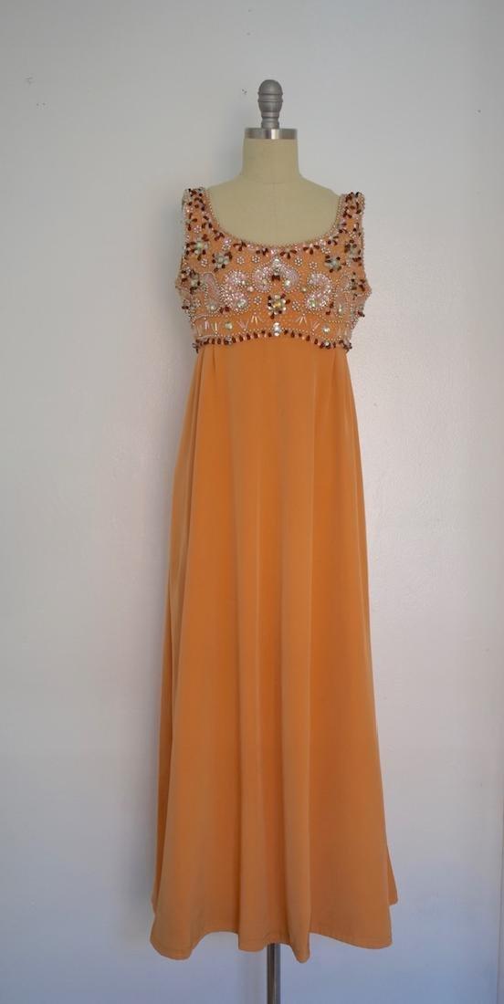 Vintage 1960s Evening Orange Sequin Beaded Sartorial