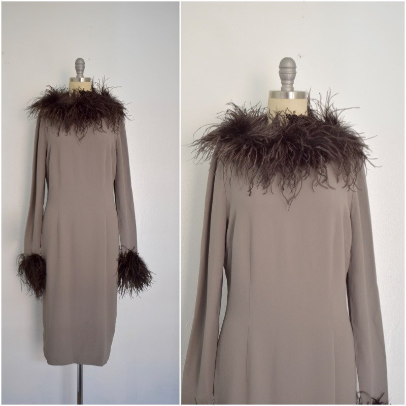 Valentino Miss V Never Worn Taupe Ostrich Faux Feather