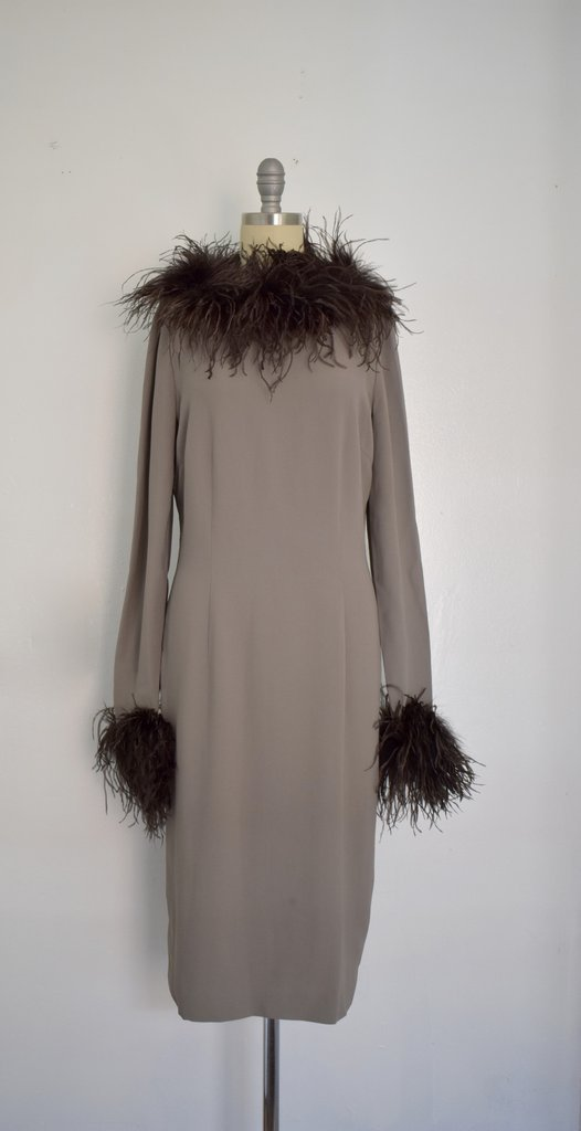 Valentino Miss V Never Worn Taupe Ostrich Faux Feather - 2
