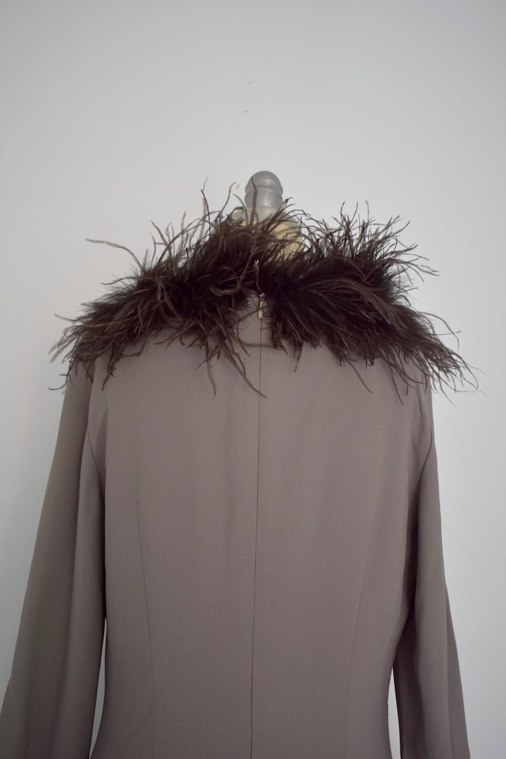 Valentino Miss V Never Worn Taupe Ostrich Faux Feather - 6