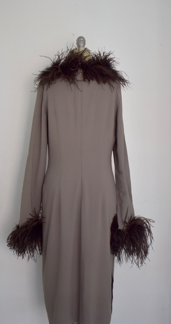 Valentino Miss V Never Worn Taupe Ostrich Faux Feather - 7