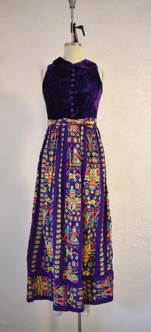 Vintage 1970s Purple Velvet Sleeveless Pattern Dress