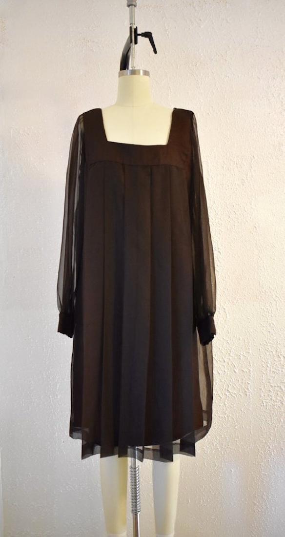 Vintage 1980s Brown Sheer Mod Dress