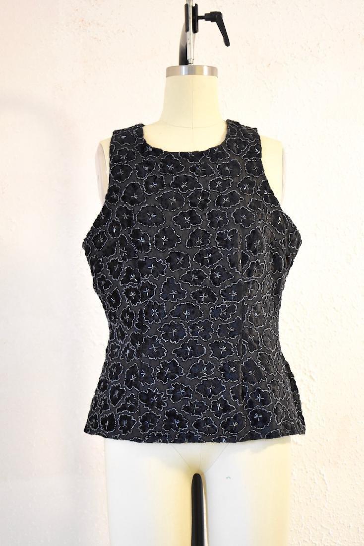 Vintage Black Sequin Stenay Blouse
