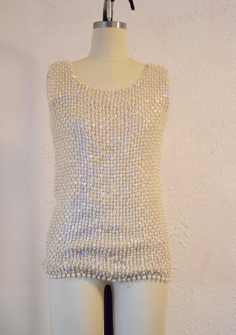 Vintage 1960s Wool Sequin Beaded Top