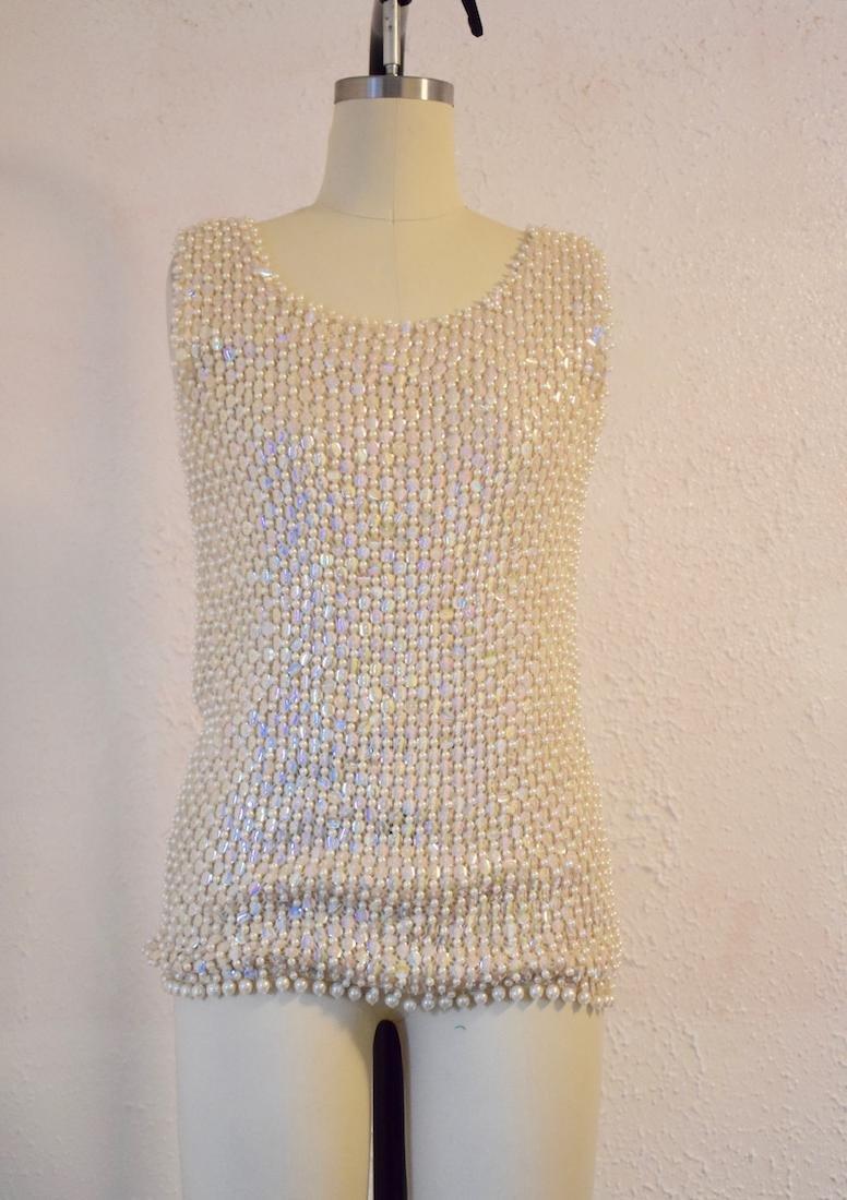 Vintage 1960s Wool Sequin Beaded Top