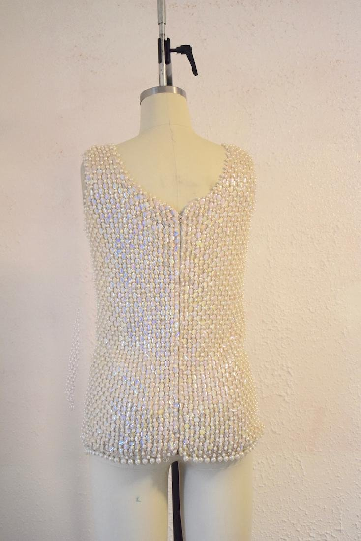 Vintage 1960s Wool Sequin Beaded Top - 3