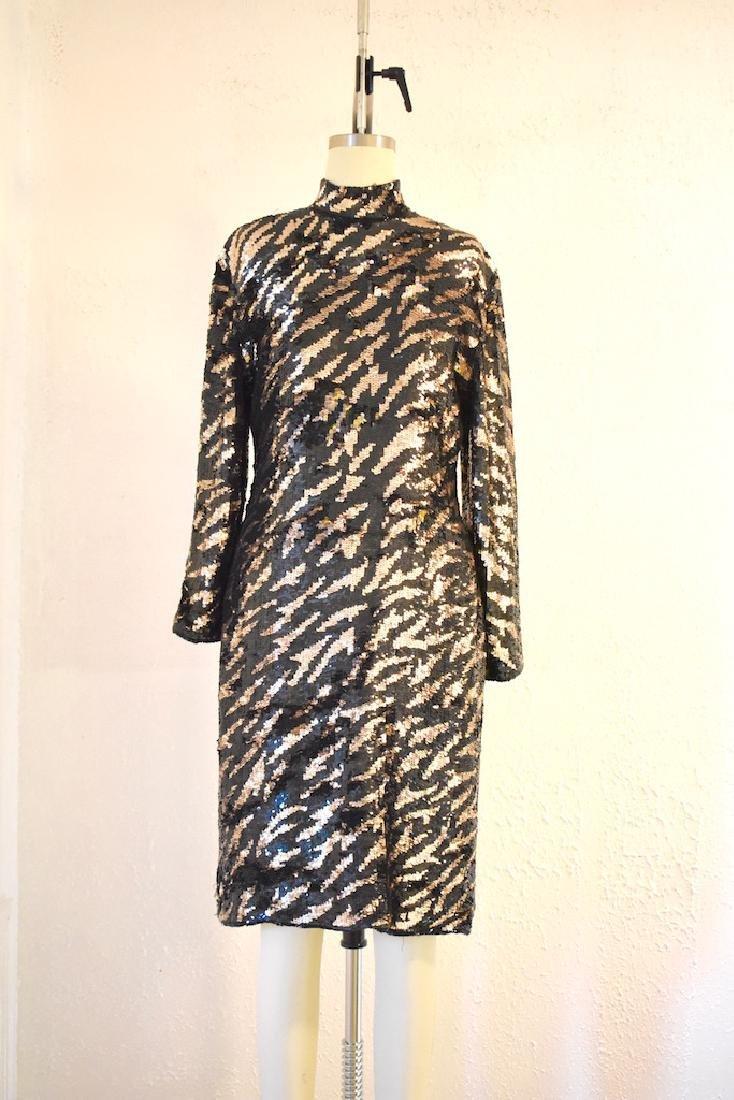 Vintage 1980s  Tiger Stripe Black Gold Sequin Dress