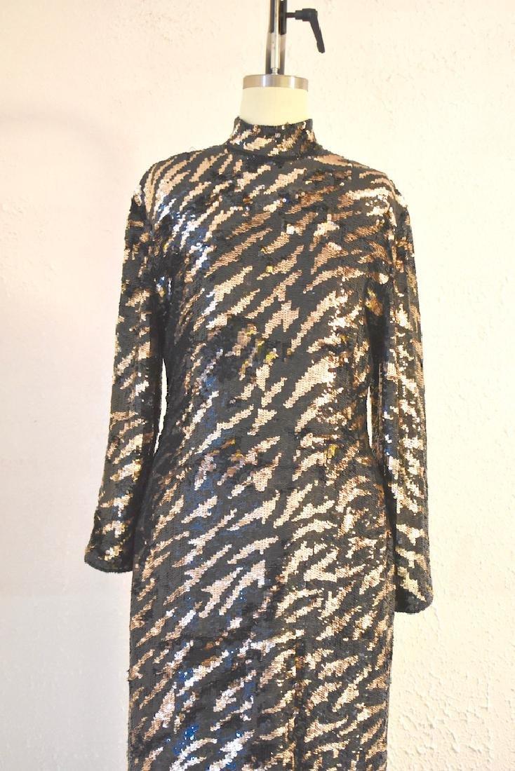 Vintage 1980s  Tiger Stripe Black Gold Sequin Dress - 2