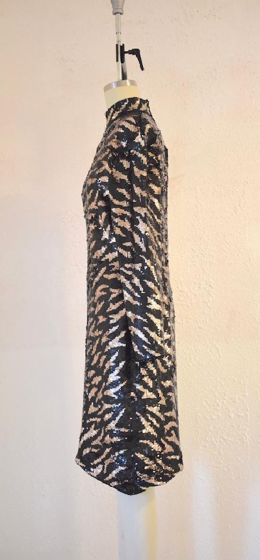 Vintage 1980s  Tiger Stripe Black Gold Sequin Dress - 3