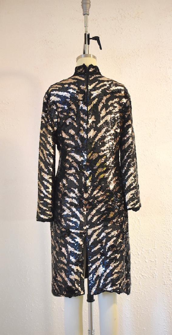 Vintage 1980s  Tiger Stripe Black Gold Sequin Dress - 4