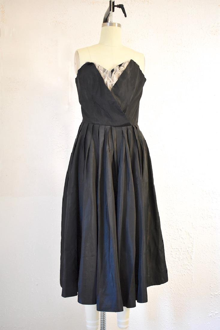 Vintage 1950s Strapless Black Taffeta Dress