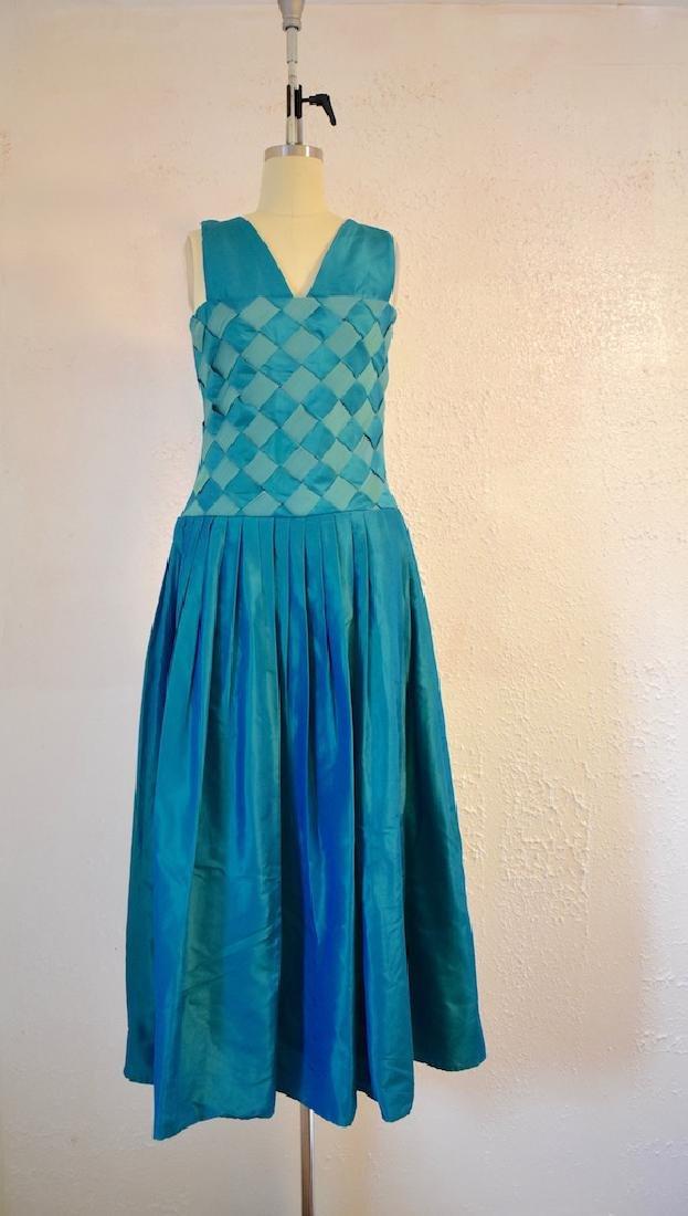 Vintage 1970s Handmade Blue Turquoise Ribben Dress